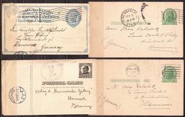 Postal History: USA 4 Postal Stationary Cards - Postal Stationery