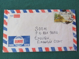 Nigeria 1999 Cover To Enugu - Lekki Beach - Boat - Banana Or Palm Trees - Nigeria (1961-...)