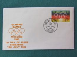 Zimbabwe 1980 FDC Cover - Moscow Olympic Games Rings - Zimbabwe (1980-...)