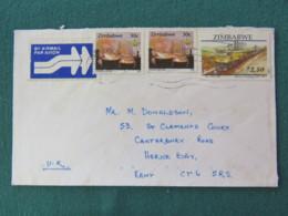 Zimbabwe 1999 Cover To England - Mining - Train - Zimbabwe (1980-...)