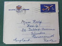 South Africa 1970 Aerogramme To England - Plane - Protea Flower Logo - Afrique Du Sud (1961-...)