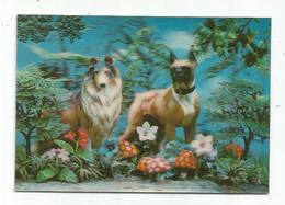 Chien ; Bouldogue, Boxer ; Lassie - Carte Visio Relief - 3D - - Chiens