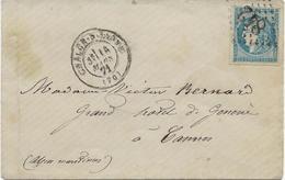 LETTRE AFFRANCHIE N° 46 B -LOSANGE GROS CHIFFRES 842 -CHALONS SUR SAONE   -ANNEE 1871 - TB - 1849-1876: Classic Period