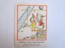 Chromo Chromos Au Louvre Paris Les Fables De Lafontaine Illustrateur La Tortue Et Les Deux Canards - Andere