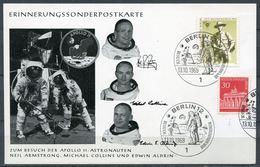 """Germany Westberlin 1969 Sonderkarte Astronauten Besuch M.Mi.Nr.342 U.ESST""""Berlin 12-Besuch Der Mondfahrer,Apollo""""1 Karte - Briefe U. Dokumente"""