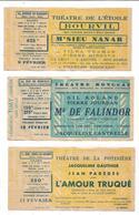 Ticket D'entrée , Théâtre Monceau,théâtre De La Potinière,théâtre De L'Etoile; Bourvil.... - Tickets D'entrée