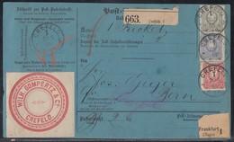 DR Paketkarte Mif Minr.41,42,44 K1 Crefeld 28.5.86 Gel. In Schweiz - Deutschland