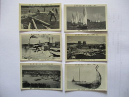 6 IMAGES CHOCOLAT DELESPAUL N°474 à 479 FLOTTAGE DU BOIS,SARPSBORG,VESTFOLD,ARENDAL,OSLO L'HOTEL DE VILLE,BATEAU VIKING - Vieux Papiers