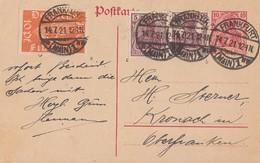 DR Ganzsache Zfr. Minr.111a,140c,142b Frankfurt 14.7.21 Geprüft - Deutschland