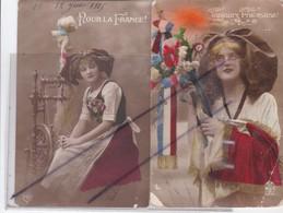 Lot De 4 C.P.A.,Patriotique ;Jolies Femmes Alsaciennes;Pour La France/Toujours Française/Du Corsage Aux Cheveux,.... - Patriotiques