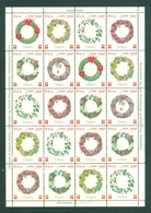 Denmark. Christmas Sheet 1999. Danish Church Calgary. Door Decoration. Flowers. - Full Sheets & Multiples