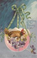 Carte Fantaisie - Joyeuses Pâques - La Poule Aux Oeufs D'or -Très Belle Carte Gauffrée - Pâques