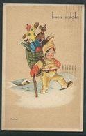 Buon Natale Circolata Nel 1948; Bambino Porta I Giocattoli Nella Gerla, Cane; Illustratore Bonfanti. - Altri