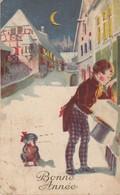 Carte Fantaisie - Bonne Année - Les Bons Souhaits Du Jeune Homme Avec Son Chien - Nouvel An