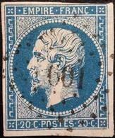 FRANCE Y&T N°14Aa Napoléon 20c Bleu Foncé. Oblitéré Losange.PC N°601 - 1853-1860 Napoléon III