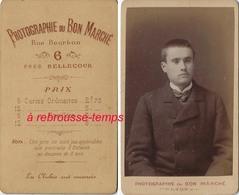 A Voir CDV Dos-tarifs Des CDV à Partir De 5 Ans-photographie Du Bon Marché à Lyon-Jeune Homme-bel état - Anciennes (Av. 1900)