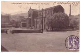 1928 France Terrenoire - L'Egllise Et La Place De L'Eglise - Loire Saint Etienne - Saint Jean Bonnefonds - Saint Etienne