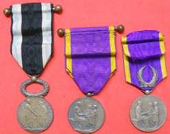 3 Médailles Décorations à Jules Oudet Instituteur 66 St Laurent Salanque Perpignan Marianne De Roty Argent - Francia