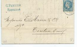29B Sur Lettre De Marseille Pour Toulon  1870 - 1849-1876: Classic Period