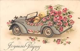 Illustrateur Non Signé - Fantaisie - Automobile - Poussin - Liserets Paillettes - Joyeuses Pâques - Pâques