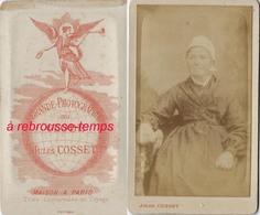 Dos De CDV-elfe Ailé Sur Un Globe-grande Photographie Du Globe Jules Cosset à Paris- 3 Succursales En Voyage-femme Simpl - Anciennes (Av. 1900)