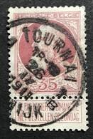 N. 77, 35 Cent Brun-rouge, Obl. Tournai 26/9/1911 - 1905 Grosse Barbe