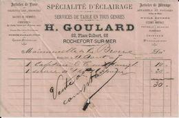 ROCHEFORT SUR MER H GOULARD SPECIALITE D ECLAIRAGE GALERIE DECHEMINEES CHENETS POUDRES HUILE PETROLE ANNEE 1887 - Non Classés