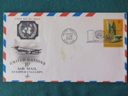 United Nations (New York) 1963 FDC Stationery Cover - Emblem - Plane - New-York - Siège De L'ONU