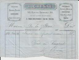 ROCHEFORT SUR MER H CHESNE GLACES SOMMIERS SIEGES CRINS PLUMES DUVETS TAPIS PAPIERS PEINTS ANNEE 1881 - Non Classés