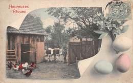 Heureuses Pâques - Ferme - Oeuf - Vache - Poules - Pâques