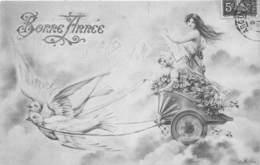 Bonne Année - Illustrateur - Style Viennoise - Femme - Colombes - Nouvel An