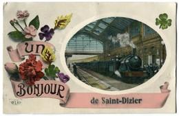 """Dep 52 Jolie Carte Fantaisie Train Et Fleurs """" Un Bonjour De SAINT DIZIER """" - Saint Dizier"""