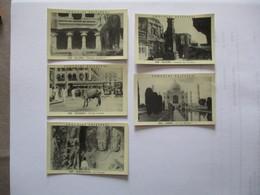 5 IMAGES CHOCOLAT DELESPAUL N°553,556 à 558,562 ELLORA,BOMBAY VACHE SACREE,ELEPHANTA,ELLORA,AGRA LE TAJ MAHAL - Vieux Papiers