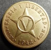 Cuba 5 Centavos 1943 WWII KM#11.3a Brass One-year-type Very High Grade - Cuba