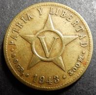Cuba 5 Centavos 1943 WWII KM#11.3a Brass One-year-type - Cuba