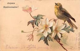 Joyeux Anniversasire - Oiseau - Fleur - Illustrateur S.N.B. - Anniversaire