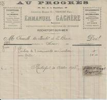 ROCHEFORT SUR MER EMMANUEL GAGNERE AU PROGRES FOURNITURES POUR LA MARINE COULEUR VERNIS HUILE ESSENCES STORES ANNEE 1906 - Non Classés