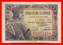 ESPAÑA BILLETE DE 1 PESETA 21 DE MAYO DE 1943. SERIE ,, G 2993164 ,, - [ 3] 1936-1975 : Régimen De Franco
