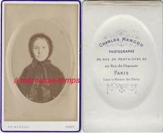 CDV Photo D'un Tableau D'une Ancêtre Du XVIII Ou Début XIXe-par Ch. Mercou Dans La Maison Des Bains à Paris - Photographs