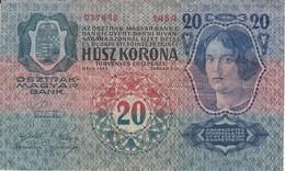 BILLETE DE HUNGRIA DE 20 KORONA DEL AÑO 1913 (BANKNOTE) - Hungría