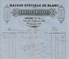 ROCHEFORT SUR MER ERNEST CRISTIN MAISON SPECIALE BLANC CALICOTS FLANELLE DE SANTE MOUSSELINE RIDEAUX BROCHES ANNEE 18788 - Non Classés