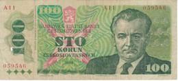 BILLETE DE CHECOSLOVAQUIA DE 100 KORUN DEL AÑO 1989   (BANKNOTE) - Tchécoslovaquie