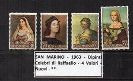 San Marino - 1963 - Dipinti Celebri Di Raffaello - 4 Valori - Nuovi - ** - (FDC13334) - Art