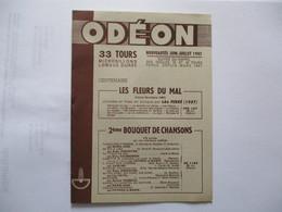 ODEON NOUVEAUTES JUIN-JUILLET 1957 33 TOURS SUIVIES DU RAPPEL DES 33 ET 45 TOURS PARUS DEPUIS MARS 12 PAGES - Musique & Instruments
