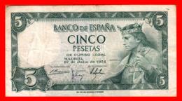 ESPAÑA BILLETE DE 5 PESETAS 22 DE JULIO DE 1954. SERIE ,, Q 6326831 ,, - [ 3] 1936-1975 : Régimen De Franco