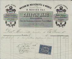 ROCHEFORT SUR MER CRISTIN AINE MAISON DE NOUVEAUTES MODES ANCIENNE MERCIER CHALES SOIERIE VOILETTES DENTELLES ANNEE 1876 - France