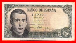 ESPAÑA BILLETE DE 5 PESETAS 16 DE AGOSTO DE 1951. SERIE ,, C 5769371 ,, - 5 Pesetas