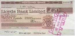 TRAVELLERS CHEQUE LLOYDS BANK 20 POUNDS AÑO 1981 - Regno Unito