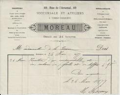 TONNAY MOREAU TEINTURE ETOFFES SOIE LAINE COTON ROBES SCHALS PALETOTS REDINGOTES GILETS DEUIL EN 24 HEURES ANNEE 1877 - Non Classés