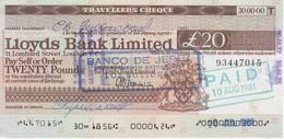 TRAVELLERS CHEQUE LLOYDS BANK 20 POUNDS AÑO 1981 - BANCO DE JEREZ - Reino Unido